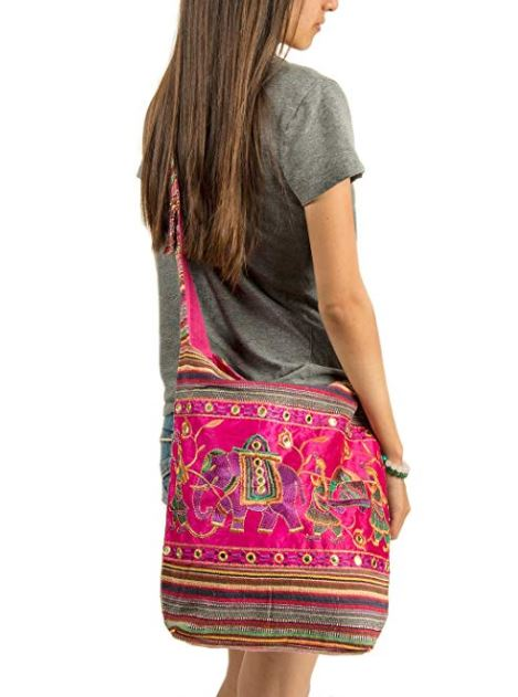 Fair trade boho bohemian bag giveaway. Blogger giveaway 2018. Low entry blog giveaways, blog giveaways 2018,fashion blog giveaway, mom blog giveaway, blog contests and giveaways. Bohemian blog. boho giveaways, win a free purse 2018. Pink Shoulder Bag Handmade Embroidered Elephant Boho Bohemian Hippie Tote Gypsy Beach Bag.