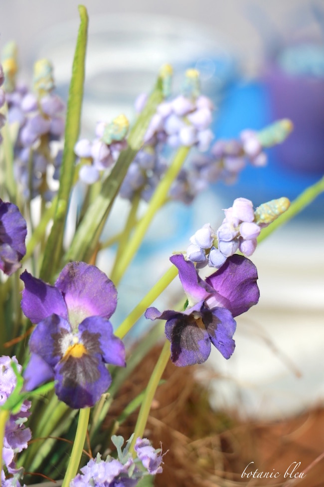 purple-pansy-and-muscari-centerpiece-for-spring-table