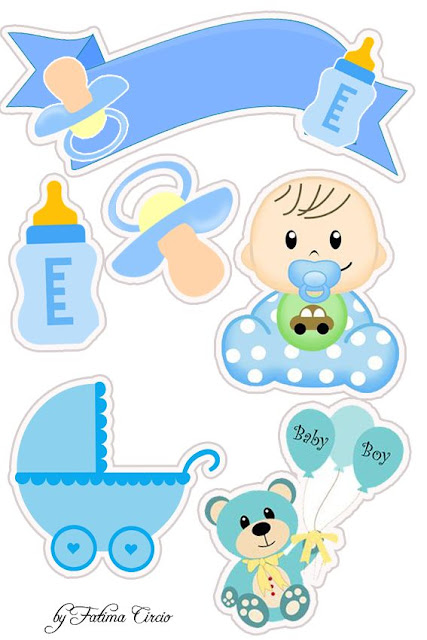 Baby Boy Free Printable Cake Toppers.
