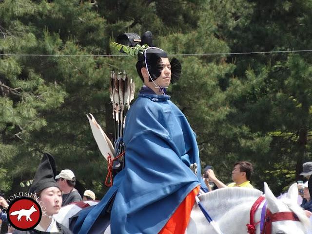 Messager avec son arc pour aoi matsuri à Kyoto