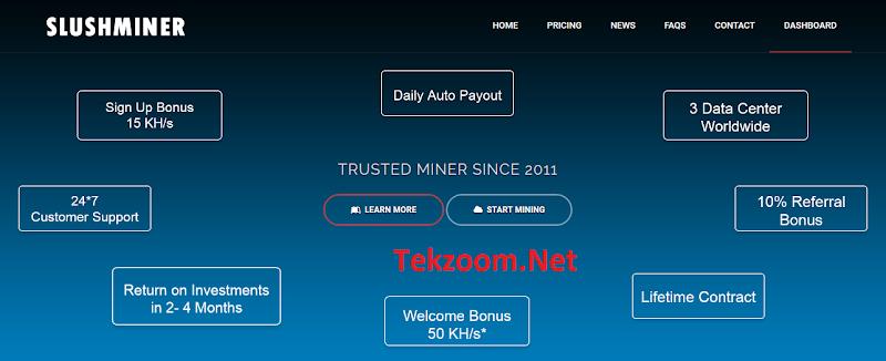 [SCAM] Mining - Review SlushMiner - Một site đào Bitcoin - Tặng 15KH/s - Đầu tư tối thiểu 6.2$ - Lãi từ 0.78% hằng ngày - Thanh toán tự động