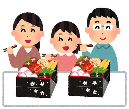 家族でおせち料理を楽しむイラスト