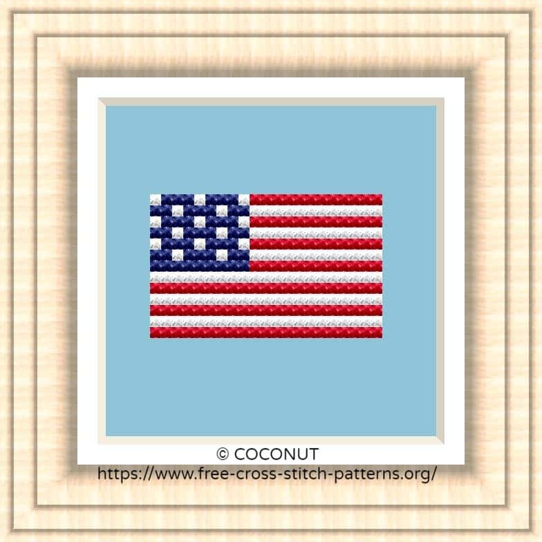 NATIONAL FLAG OF THE USA CROSS STITCH CHART