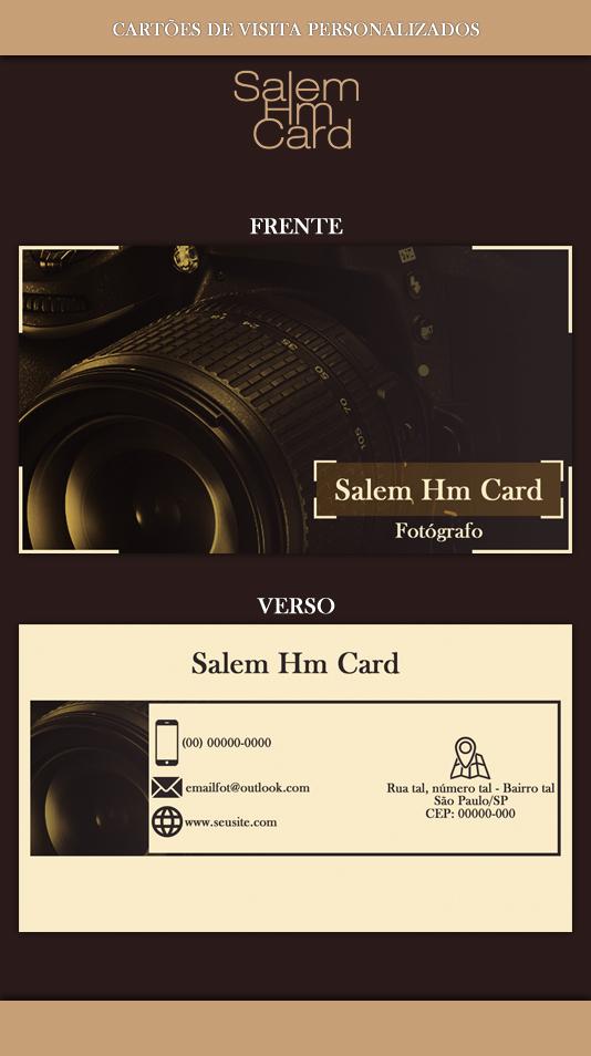 Cartão de Visita - Modelo 2 - Fotografia