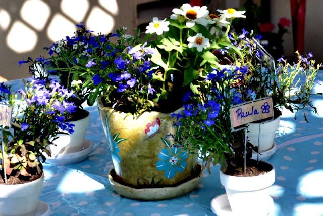 outdoor pots as a centerpiece