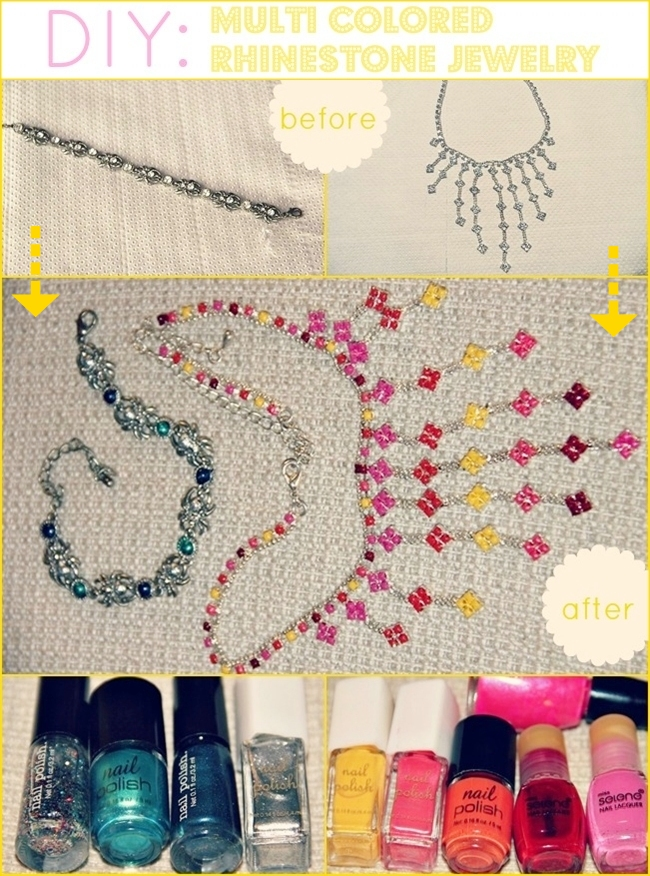 DIY Multi-colored Rhinestone Jewelry