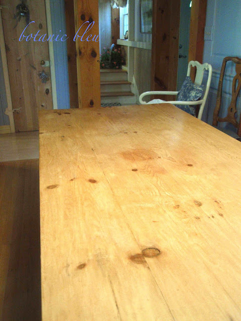 First coat of protective wax finish to stripped old reclaimed English pine table