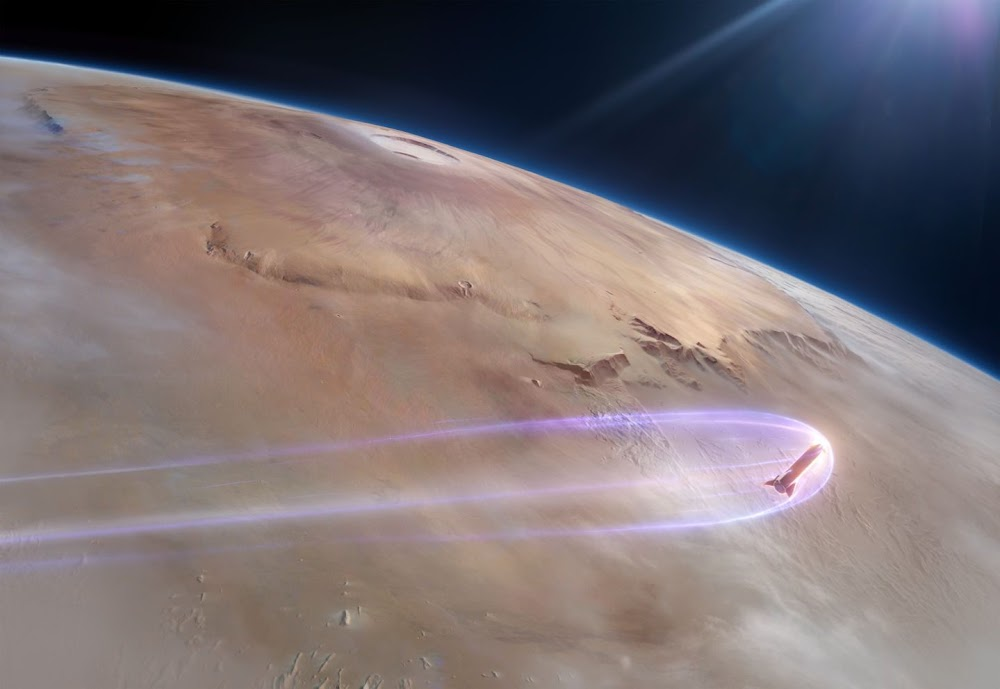SpaceX stainless steel Starship during Mars entry