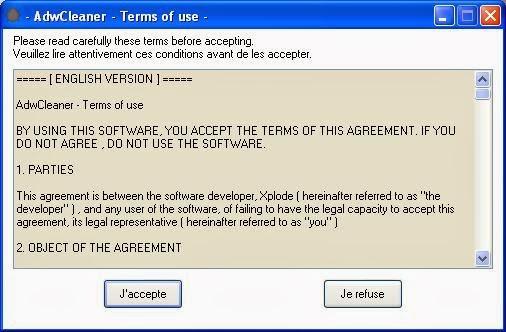 Términos de uso de AdwCleaner
