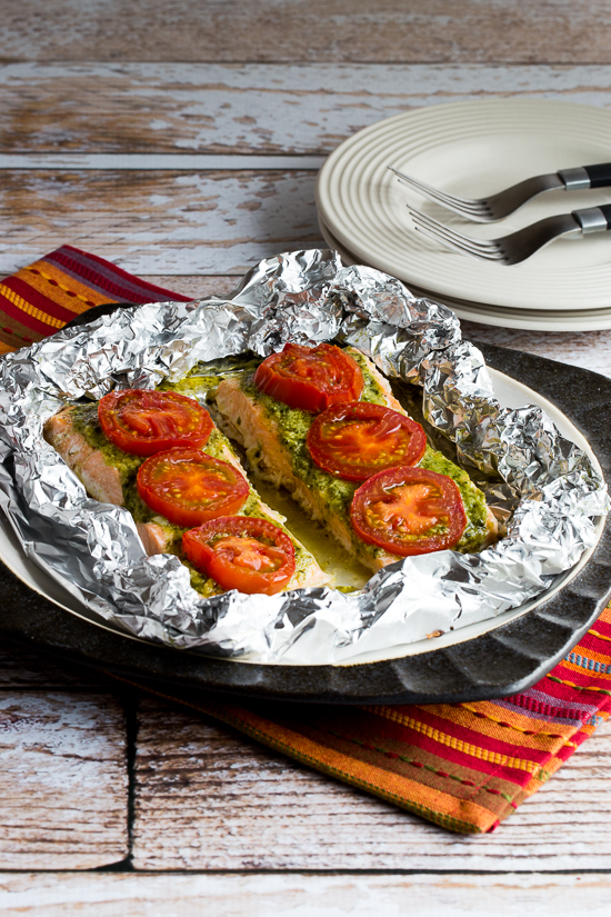 Foil-Baked Salmon with Basil Pesto and Tomatoes found on KalynsKitchen.com.