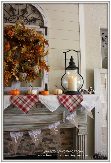 Farmhouse Fall Mantel-Carriage House Lantern- Decor Steals Lantern- From My Front Porch To Yours