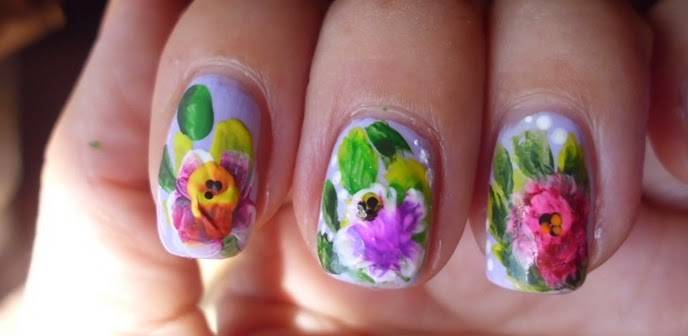 manicuras de flores one stroke