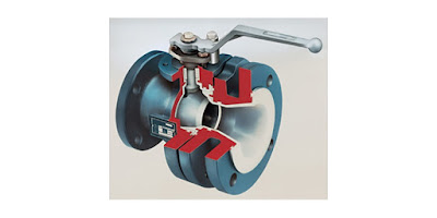 cutaway view of lined ball valve