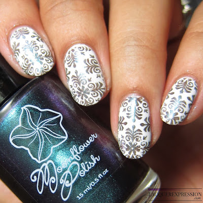 Moonflower Polish Celes-teal nail polish stamped over white