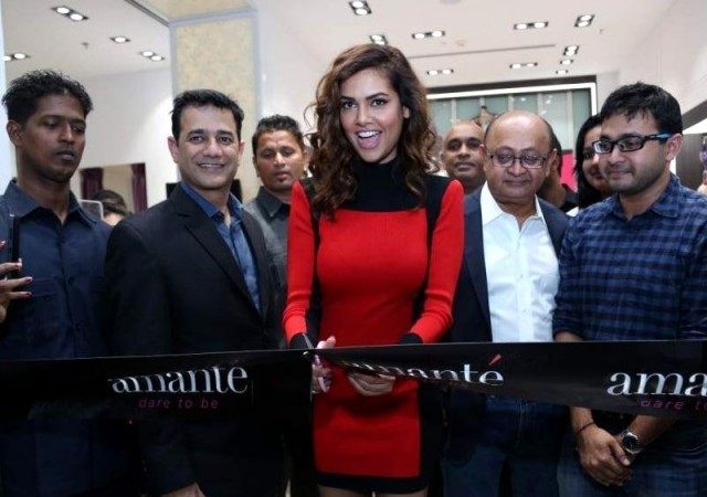 Esha Gupta in Red Balmain For H&M dress at Amanté Lingerie Store Launch