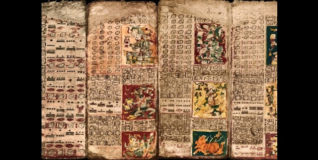 The Preface of the Venus Table of the Dresden Codex, first panel on left, and the first three pages of the Table.