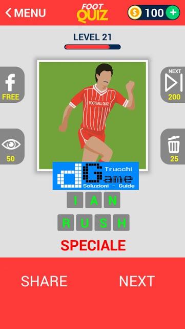 FootQuiz Calcio Quiz Football ( LEGENDS) soluzione livello 21-25