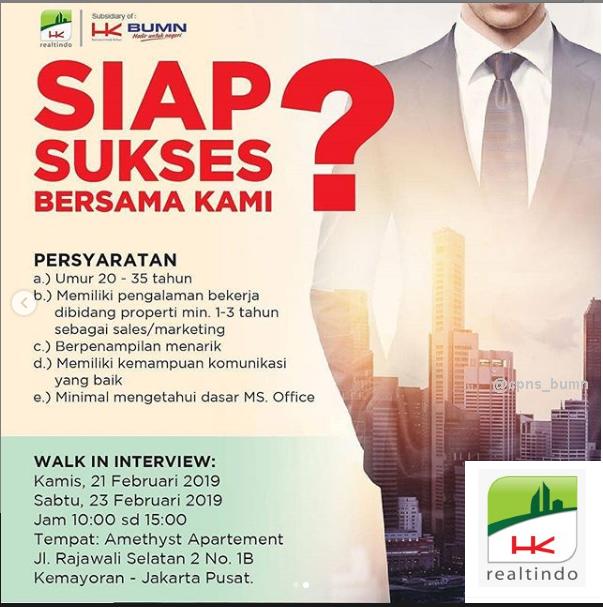 Walk In Interview PT Hutama Karya Realtindo Februari 2019