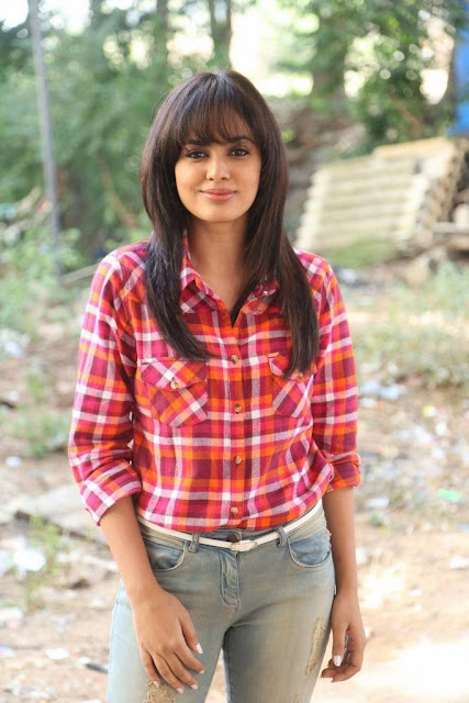 Nandita Swetha Photoshoot Stills in Long Sleeve Red Checked Shirt