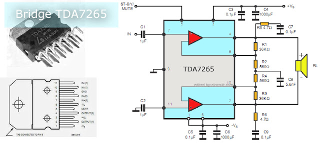 BTL Power Amplifier Circuit using IC TDA7265