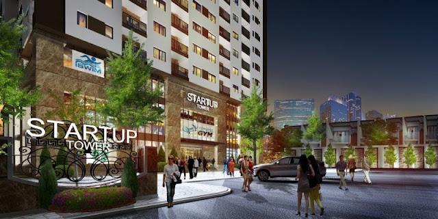 Phối cảnh khu trung tâm thương mại sảnh chính của Start Up Tower