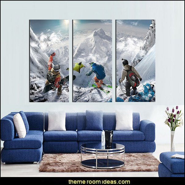 Snowy mountains skiing wall art   Ski cabin decorating - ski lodge decor - winter cabin decorating ski resort bedroom ideas - winter wall murals - ski chalet theme bedroom decorating ideas - modern rustic style winter cabin decor - Swiss alps decoration Alpine theme decorating - adventure bedroom design ideas - ski alps wall decal stickers - Swiss chalet mountain ski lodge murals weather themed bedroom decorating
