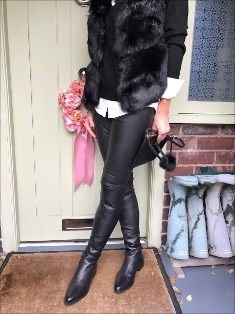 My Midlife Fashion, Faux fur gilet, H&M cashmere jumper, Buakjen coco shirt, massimo dutti leather leggings, Aurora London across body bag, zara leather over the knee leather boots, zara felt fedora hat, jcrew cluster pearls