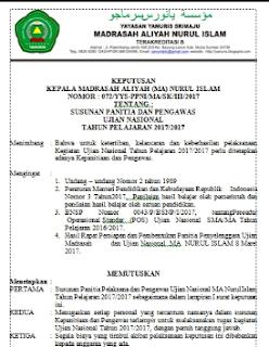 Contoh SK Kepanitiaan Ujian Nasional MA