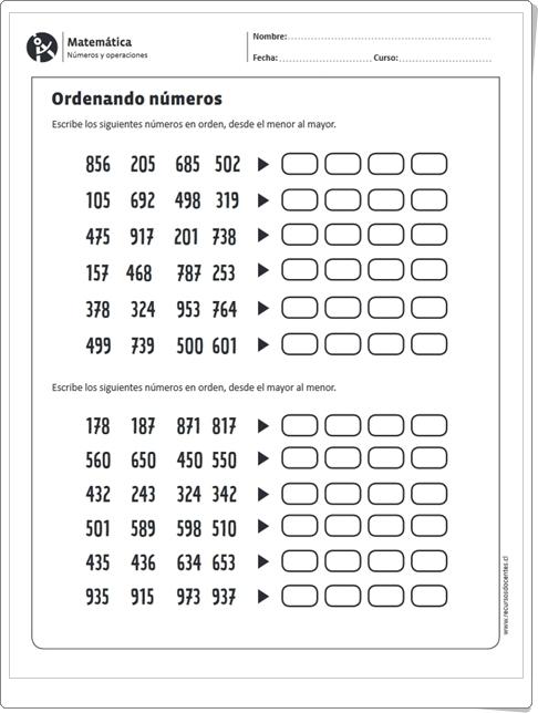 """""""Ordenando números"""" (Ficha de Números de 3 cifras)"""