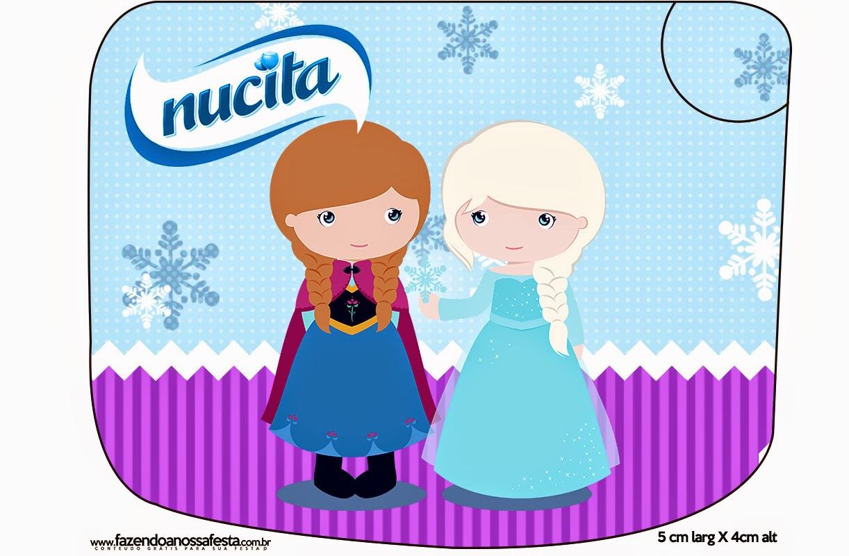 Etiqueta Nucita de Frozen Niñas en Navidad para imprimir gratis.