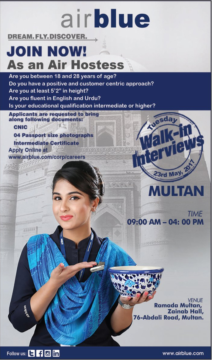 Air Hostess jobs in Air Blue Pvt Ltd Multan 22 may 2017