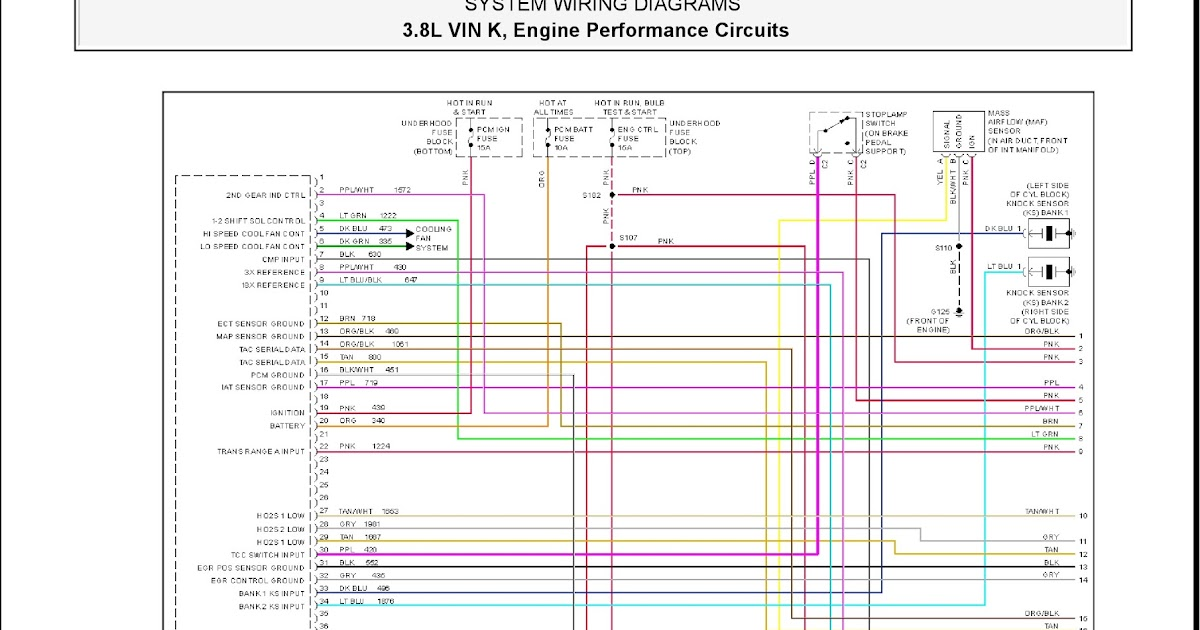 2001 Pontiac Firebird System Wiring Diagrams 16 38L VIN K, Engine Performance Circuits