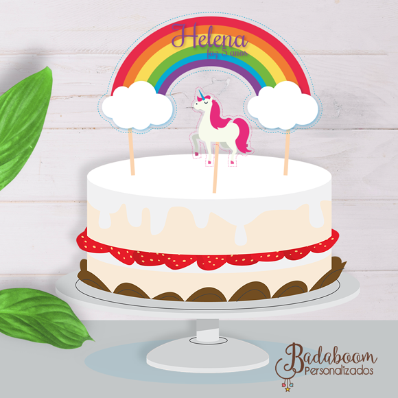 topo de bolo, arte, digital, kit, unicórnio, personalizado, festa, infantil