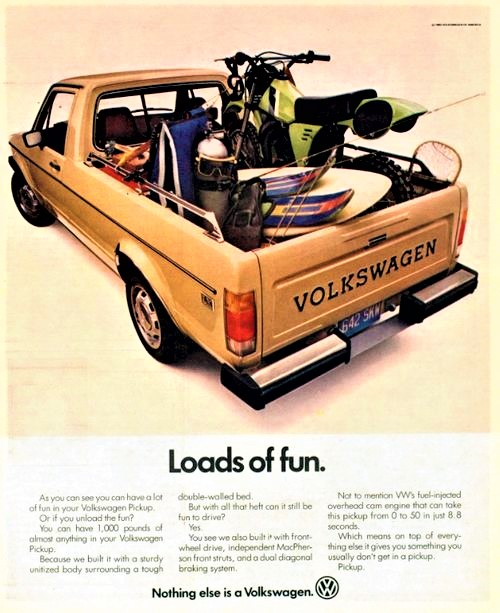 Vintage VW Caddy Advertisement featuring Kawasaki KX Motocrosser