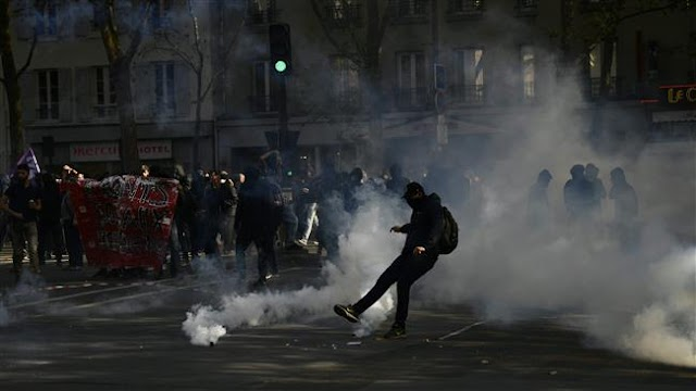 Supporters of French far-left opposition hold anti-Macron rally in Paris