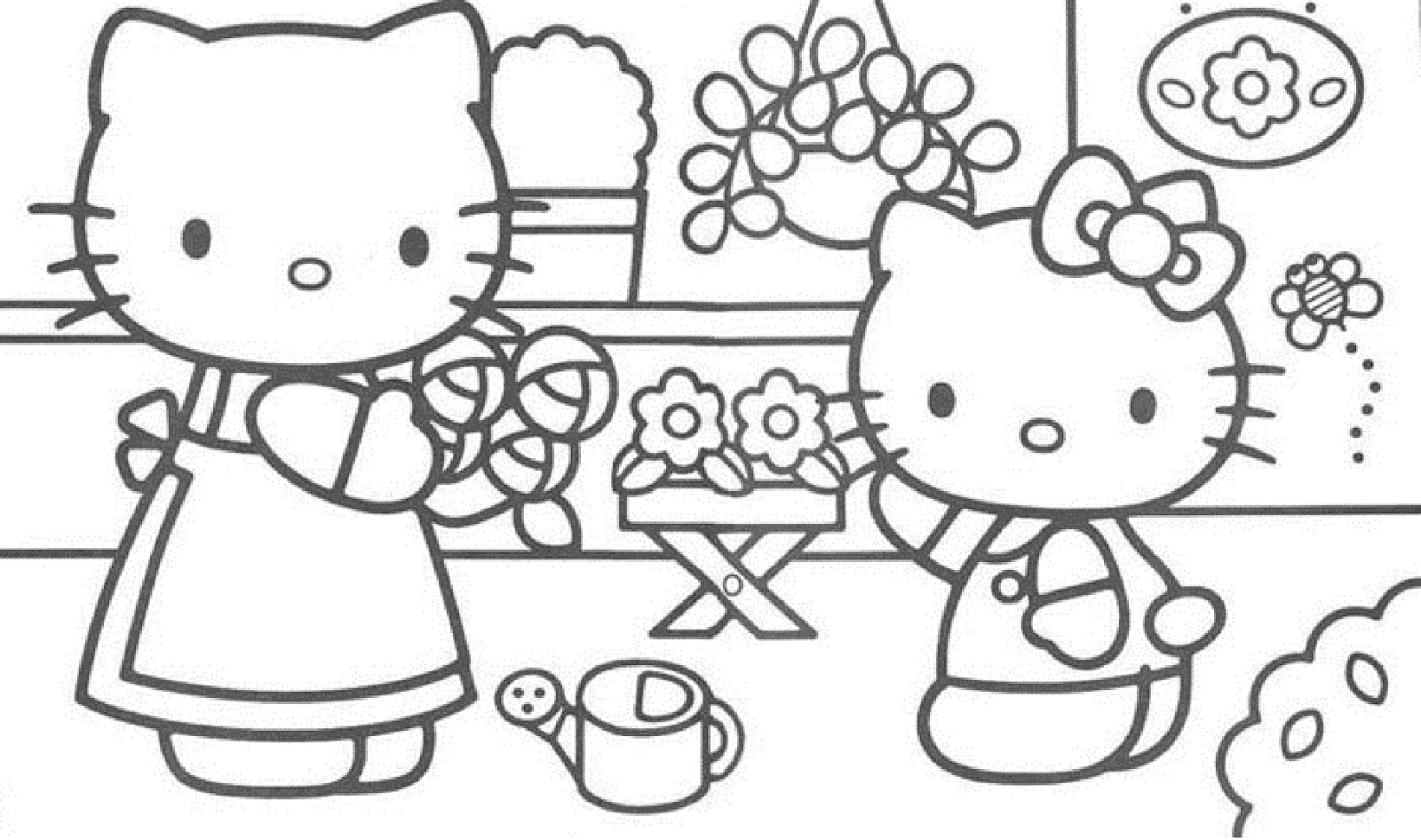 scene hello kitty coloring pages - photo#43