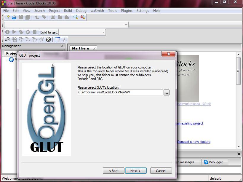 Setup OpenGL(glut) in code::block | Code in code::blocks