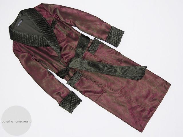 mens dressing gown burgundy silk quilted warm long victorian gentleman robe