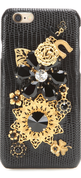 DOLCE & GABBANA Embellished leather iPhone 6 case black