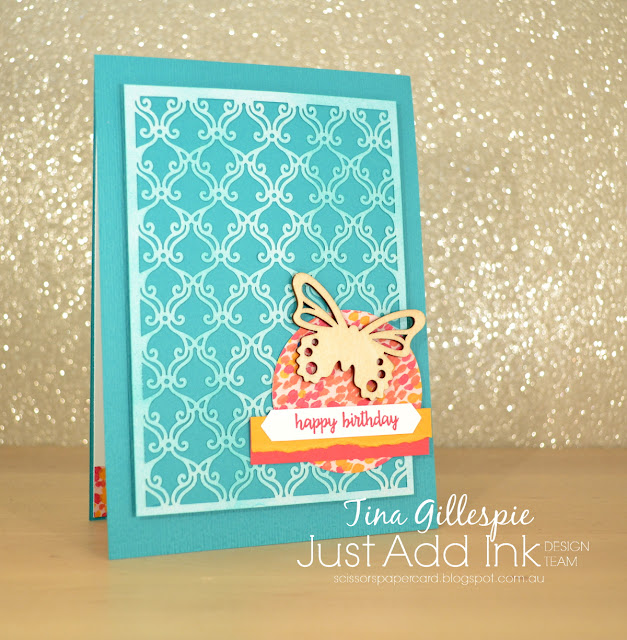 scissorspapercard, Stampin' Up!, Just Add Ink, Happy Birthday Gorgeous, Beautifully Detailed Laser-Cut Paper, Garden Impressions DSP, Butterfly Elements, Subtle DTIEF, Sponge Brayer