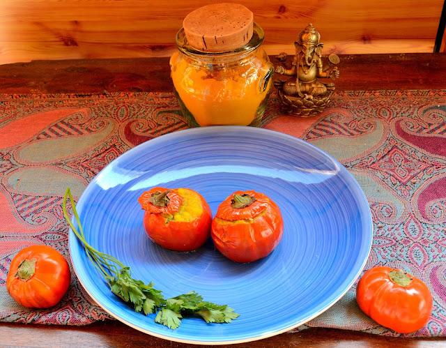 Melanzane rosse di Rotonda ripiene d'orzo al giallo di curcuma, foodfilebasilicata