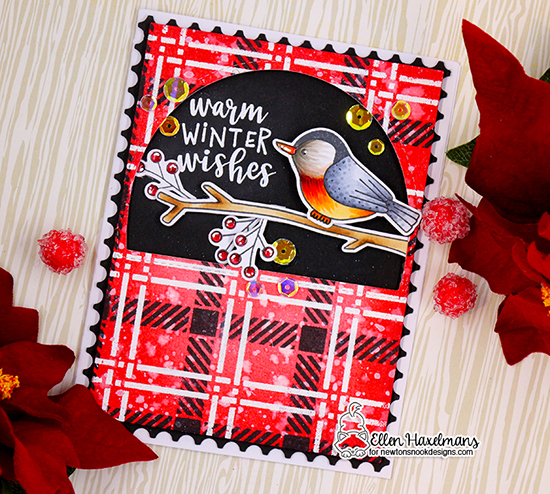 Nuthatch Bird and Plaid Card by Ellen Haxelmans | Winter Birds Stamp Set and Plaid Stencil Set by Newton's Nook Designs #newtonsnook #handmade