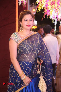 Jwala Gutta Stills in Blue Saree at Sania Mirza Sister Anam Mirza's Wedding Reception Pictures