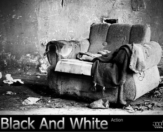 black and white action