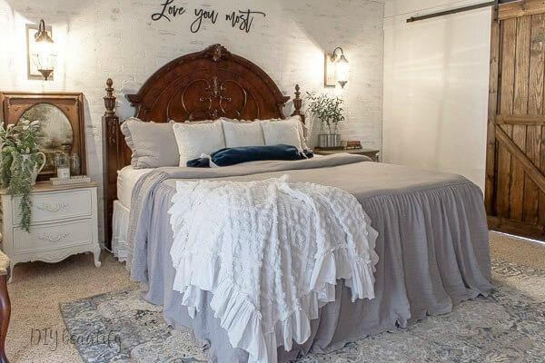 rustic lanterns in farmhouse bedroom
