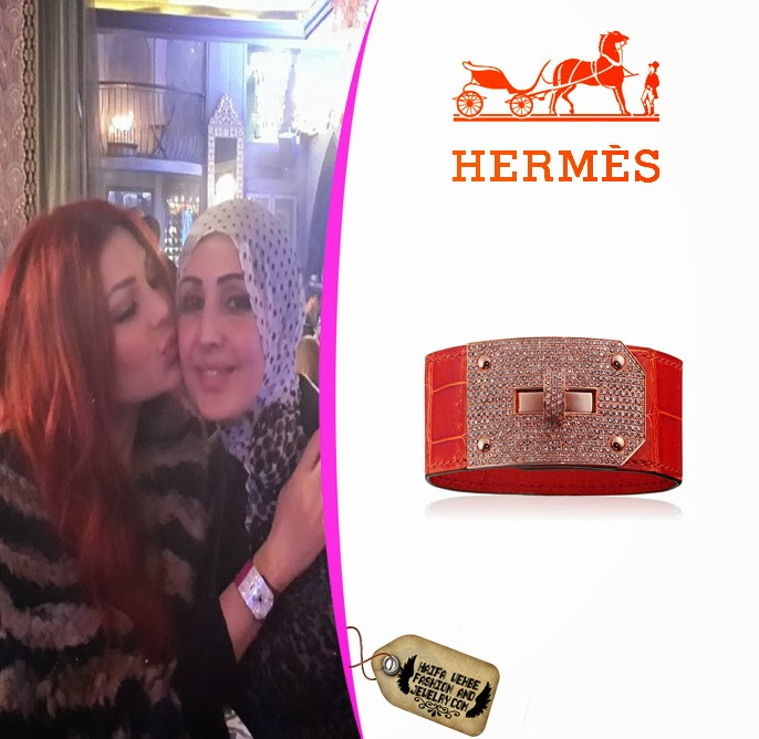 Haifa Wehbe wore this Hermes Kelly bracelet in rose gold and red crocodile  leather with brown diamonds while she was out having dinner with her  friends. aff1d9889c1c4