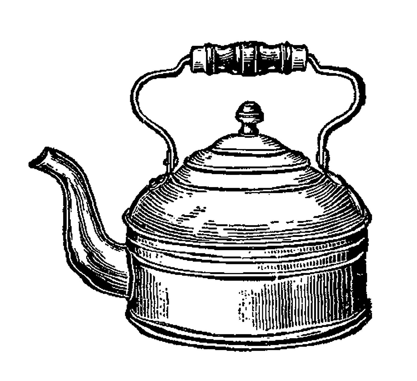 Digital Stamp Design Tea Kettle Image Vintage Kitchen