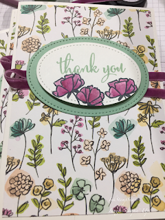 Thank you card.Share what you love DSP. Watercolouring Love What You Do stamped flowers with blender pens