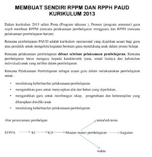 Cara Mudah & Contoh Membuat RPPM dan RPPH PAUD Kurikulum 2013 Lengkap