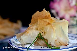 Saquitos de Pasta Filo rellenos de Bacalao y Cebolla Caramelizada